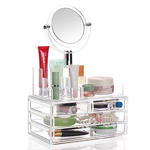 TuTu 3 couches de boîtes de rangement en acrylique grande cosmétiques / nécessités quotidiennes créatives avec un coffre à miroir (24 * 13.5 * 36cm)