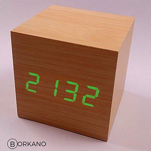 Réveil Cube en Bois BORKANO affichage Heure, Date et...