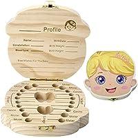 Caja De Dientes De Leche De Madera Organizador Para El Bebé,Colección de Dientes de Hoja Caduca Caja de Recuerdos Para Mantener la Memoria de la Infancia, (Bebe Niño)