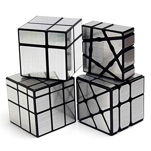HJXDtech 4 Pack Geschwindigkeits-Würfel-Bündel 1x3x3 Geisterwürfel + 2x2x2 & 3x3x3 Spiegelwürfel + Radwürfel Irregulärer Spiegel Aufkleber Zauberwürfel Set (Silber) -
