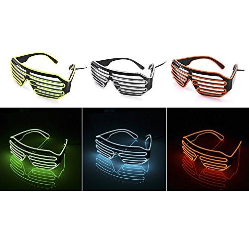 führte leuchtende Brille für Parteien blinkende leuchtende Festival-Shutter Brillen eyewear Neon el Draht Auge Maske Brille für Weihnachten Halloween Karneval Kostüm Party Tanz (Kostüme Tanz Weihnachts)