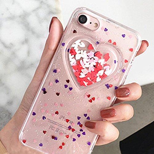 GHC Cases & Covers, Herz Glitter Powder Schutzmaßnahmen Rückseite Cover Soft Case für iPhone 6 Plus & 6s Plus ( Color : Transparent ) Transparent