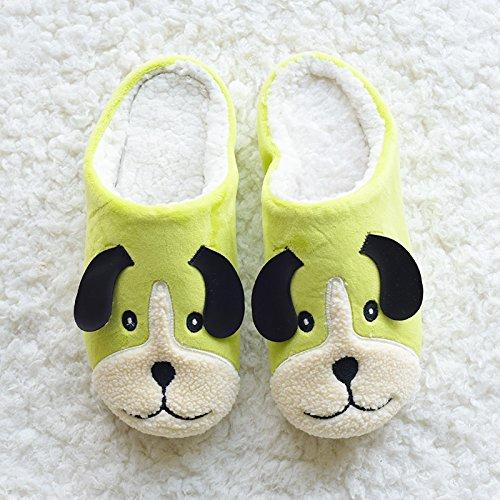 DogHaccd pantofole,Autunno e Inverno piscina Cartoon carino cucciolo di cane amanti pantofole home soggiorno scarpe scarpe di cotone scarpe caldo di spessore, antiscivolo Giallo fluorescente4