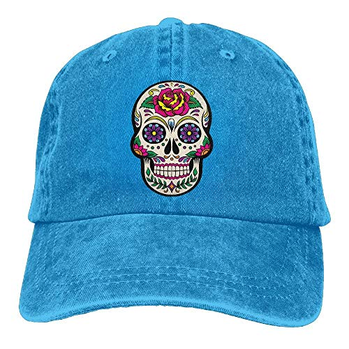Preisvergleich Produktbild jingqi Mens Womens Baseball Cap Giant Sugar Skulls Adjustable Denim Snapback Cap for Men