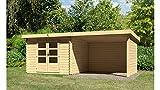 KONIFERA Set: Gartenhaus Ringköbing 5, BxT: 597x297 cm, natur, inkl. Anbau mit Wänden Natur