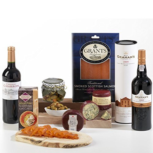 Hay Hampers Connoisseur Hamper Box - FREE UK Delivery - Port, Wine, Cheese, Stilton, Salmon