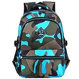 Macbag Schulrucksack Bookbag Durable Camping Rucksack für Jungen und Mädchen (Tarnung Blau)