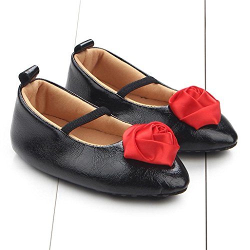 WOCACHI Baby Mädchen Blumen Prinzessin Shoes Sneaker Anti Rutsch Soft Sole Kleinkind Schuhe Krabbelschuhe Sandalen (12CM, Rot) Schwarz