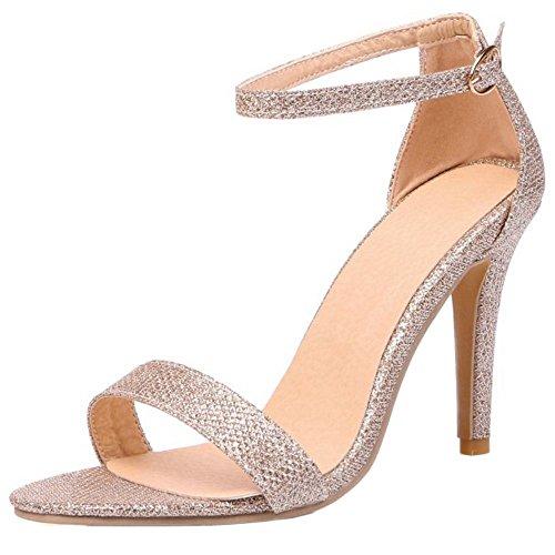 TAOFFEN Women Western Stiletto High Heel Open Toe Ankle Strap Sandals Or