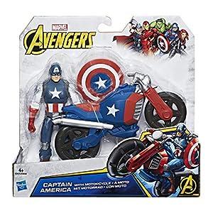 Marvel C0478EL3 - Figura y vehículo del Capitán América de los Vengadores, 15,2 cm