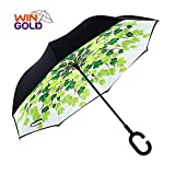 wingold umgekehrter Regenschirm-Doppelschichtregenschirm Reverse-Regenschirm für Auto und Gebrauch im Freien windundurchlässiger und UVschutz-großer Gerader Regenschirm, der für Frau (Ahornblatt)