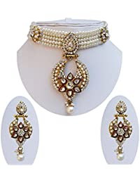 Lucky Jewellery Elegant White Color Pearl Choker Necklace With Earring For Girls & Women