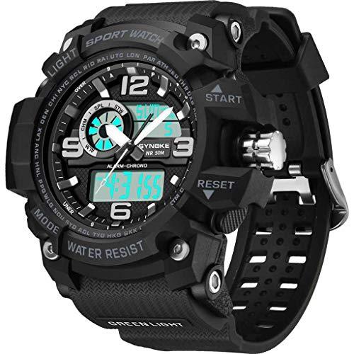 Armbanduhr für Heren/Skxinn Männer Wasserdicht Männer Armbanduhr Mode Elegant Outdoor Sports Multi Function Dual Display elektronische Uhr,Luxury Herrenarmbanduhr Herrenuhren Ausverkauf(Schwarz)