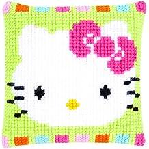 Vervaco PN-0153796 VER - Cojín de punto de cruz diseño de Hello Kitty colores