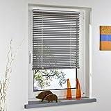 Liedeco® Klemmfix-Jalousie, Alu-Jalousie ohne Bohren mit Universal-Klemmträger, verschiedene Farben (Innenjalousie, Decken- oder Wand- oder Fenstermontage / Jalousie als Sonnenschutz, Sichtschutz, Blendschutz, Fensterdekoration fürs Fenster / Liedeco - Rollos Plissee Jalousien und Zubehör), Breiten 43-120 cm, Länge/Höhe 60 oder 130 cm, Breite x Höhe (B x H) 43 x 60 cm, silber, einhändig