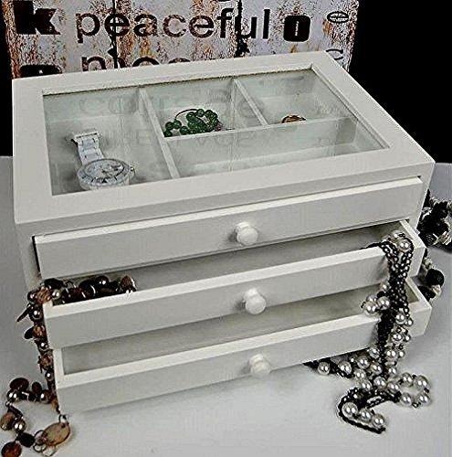 Setzkasten Sammlerbox Schmuckkasten Schmuckbox antik weiß Landhaus SP42