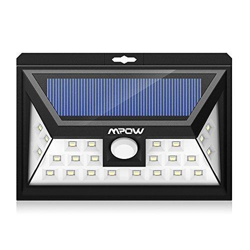 Luci Solari Mpow Lampada Wireless ad Energia Solare da Esterno Impermeabile con Sensore di Movimento, Luci Solari da Esterni con 24 Lampadine LED, 3 Modalità Funzione, per Parete, Muro, Giardino, Terrazzino, Cortile, Casa, Corraio ecc