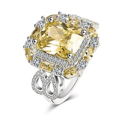 Anelli da donna in ottone placcato in platino con zirconi bianchi anelli da sposa in oro con fedi nuziali giallo 10 ''