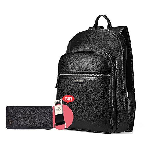 BISON DENIM Lederrucksack Schule Laptop Rucksack Stilvolle Reise Wandern Business Daypack (Black[2PC])