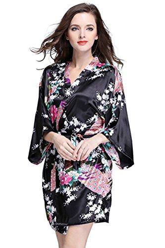 Sleepwear da donna in seta primavera estate stampa pavone casa accappatoio in raso confortevole casual elegante camicia da notte sleepshirts Nero