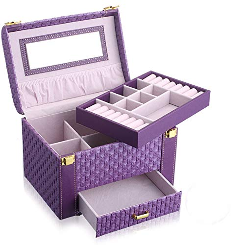 WRQZG Female Suitcase Knitted Portable Jewelry Storage 2 Layer Box Gift  Woven Cosmetic Case Box -