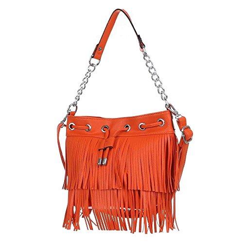 Damen Tasche, Kleine Handtasche Mit Fransen, Kunstleder, TA-7035-595 Orange