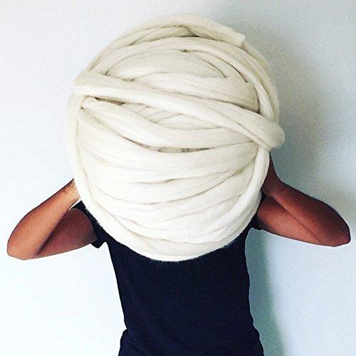 Lana merino gigante en 75 mm, lana de lujo para tejido XXL. Tejer y ganchillo para un plaid, cesta, maceta, bufandas, sombrero | Regalo de navidad ideal para tejedores chunky