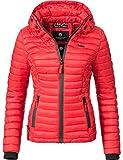 Marikoo Damen Übergangs-Jacke Jacke Steppjacke Samtpfote Rot Gr. XL