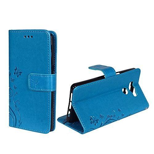 König-Shop Handy-Hülle für Elephone P9000 Tasche Case Cover Wallet Kunstleder Blau