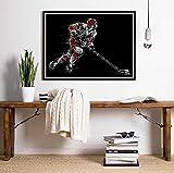 Giocatore di hockey su ghiaccio alla pista di pattinaggio Wall Art Poster Pittura su tela Camera dei ragazzi Decorazioni per pareti Sport Illustrazione Stampe Decorazione 42X60Cm senza cornice