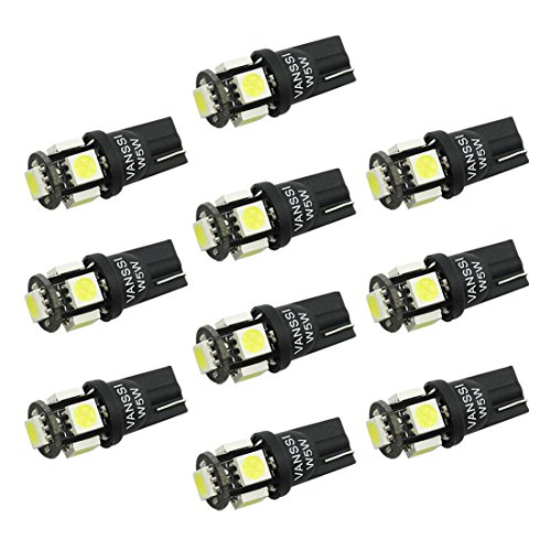 Preisvergleich Produktbild VANS 501 W5W LED Birnen-Weiß-5-SMD 5050 High Power 168 194 2825 T10 LED Auto-Innennummernschild -Boot-Glühlampe (Packung mit 10)