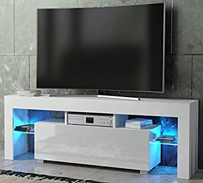 Modern TV Unit 130cm Cabinet White Matt and White High Gloss FREE LED RGB Lights