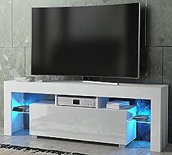 Modern TV Unit 130cm Cabinet White Matt and White High Gloss FREE LED RGB Lights
