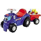 Unbekannt Traktor mit Anhänger, Bausteinen und Bauplatten schon für Kleinkinder ab 12 Monaten geeignet • Rutscher Trettraktor Trecker Kinderfahrzeug Spielzeug Anhänger Bausteine