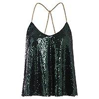 Verdusa Women's Spaghetti Straps Party Criss Cross Sequin Sparkle Cami Halter Top Green XXL