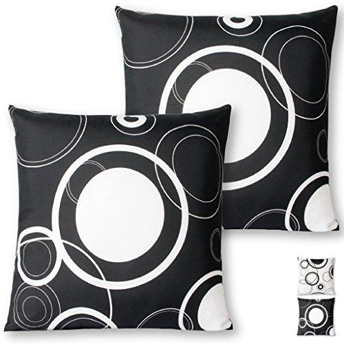 Kissenhülle Kissenbezug Zierkissen Malisa 2er Pack Auswahl: 50x50cm Kissenhülle Schwarz mit weißen Kreisen