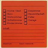 60 x Beschriftungsetiketten für Umzugskartons Farbe: Rot