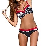 OverDose Damen Padded Push-Up-BH Dreieck Bedruckte Schlinge Bikini Set Badeanzug Badeanzug Bademode Beachwear Badeanzüge(Rot,XXL)