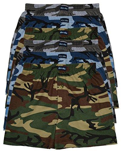 6 bedruckte & weiche 100% Baumwoll Herren Boxershorts Boxer Short in 6 oder 3 modischen Farben im 6er Set verfügbar in S M L XL 2XL 3XL 4XL & 5XL 6XL, Tarn01, L-6 -