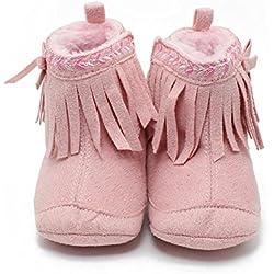 Itaar Zapato para Bebé Primeros Pasos Botita para Niñas con Bordado y Borlas (11, Rosa)