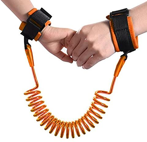 Anti Lost Safety Wrist Link Belt, Carryme 1.5M Baby Toddler Reins Safety Harness Strap Leash Walking Hand Belt Child Kids Travel Cares Safety Restraint Wristband Security Elastic Wire Rope (Orange)