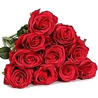 10 Pcs rose Bridal Wedding Party Decor Bouquet Latex Touch Artificial Flower Bunch