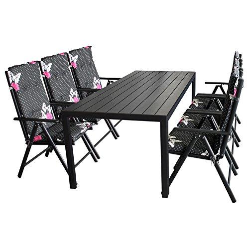 13tlg. Sitzgruppe Gartengarnitur Gartenmöbel Terrassenmöbel Set Sitzgarnitur Polywood 205x90cm + 6x Hochlehner, Lehne 7-fach verstellbar, 2x2 Textilenbespannung + 6x Stuhlauflage