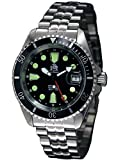 Diver watch with 24h automatic movement solid steel band T0288