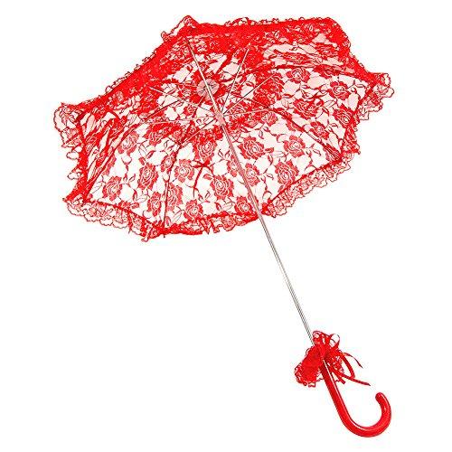 Blue Banana Paraguas Tipo Parasol de Encaje Rojo Estilo Gótico