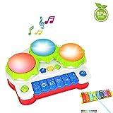 LUKAT Spielzeug Klavier für Babys und Kinder Keyboard Musikinstrument mit Musik und Lichtern Musikspielzeug Aktivität Klavier und Trommel als Geschenk für Babys und Kleinkinder