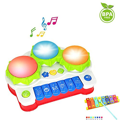 Spielzeug Klavier für Babys und Kinder Keyboard Musikinstrument mit Musik und Lichtern Musikspielzeug Aktivität Klavier und Trommel als Geschenk für Babys und Kleinkinder