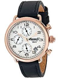 Ingersoll Quarz Balfour Herren Armbanduhr mit silber Zifferblatt Chronograph-Anzeige und schwarz Lederband INQ008SLRS