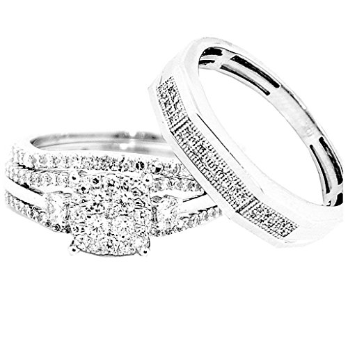 Für Diamant-hochzeit Ihn Ring-sätze (Rings-MidwestJewellery.com Damen -  10 K  Weißgold     Diamant )