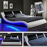 DI-LIFESTYLE Kentucky Weiss/Schwarz Doppelbett Polsterbett LED Bett Lattenrost Kunstleder (180cm x 200cm)